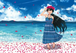Rating: Safe Score: 45 Tags: black_hair blue_eyes clouds dress flowers ganaha_hibiki hangaku_(araara0616) idolmaster necklace petals water wink User: FormX