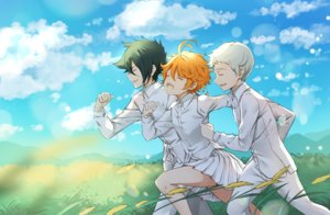 Rating: Safe Score: 2 Tags: clouds emma_(yakusoku_no_neverland) grass gray_hair green_hair male melings norman_(yakusoku_no_neverland) orange_hair ray_(yakusoku_no_neverland) shirt short_hair skirt sky tattoo yakusoku_no_neverland User: RyuZU