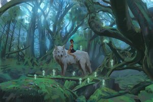 Rating: Safe Score: 46 Tags: animal forest kodama mononoke_hime san snatti tree wolf User: boomshadow