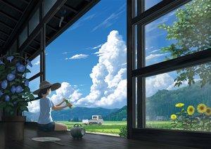 Rating: Safe Score: 101 Tags: car clouds drink fan flowers hat landscape leaves nauimusuka original ponytail scenic shade shorts sky summer sunflower User: Flandre93