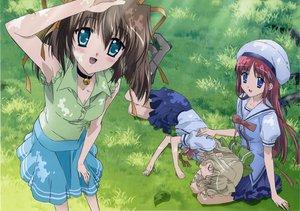 Rating: Safe Score: 4 Tags: aisia asakura_nemu choker da_capo grass ribbons shirakawa_kotori skirt User: 秀悟