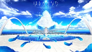 Rating: Safe Score: 105 Tags: akizuki_tsukasa brown_eyes clouds dress feathers haruka_kanata landscape long_hair mizushiro_haruka scenic sky sorahane water white_hair wings User: gnarf1975