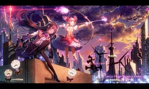 Rating: Safe Score: 46 Tags: 2girls akemi_homura aliasing black_hair blush bow bow_(weapon) building butterfly city clouds dress headband kaname_madoka kneehighs long_hair mahou_shoujo_madoka_magica majiang pantyhose pink_eyes pink_hair purple_eyes ribbons short_hair sky twintails weapon User: RyuZU