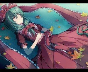 Rating: Safe Score: 46 Tags: 6u_(eternal_land) autumn green_hair kagiyama_hina leaves long_hair ribbons touhou water User: Tensa