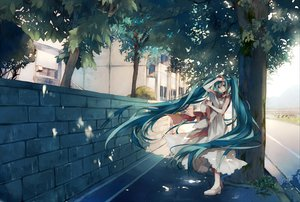 Rating: Safe Score: 81 Tags: aqua_eyes aqua_hair dress hat hatsune_miku long_hair summer_dress tree tsukioka_tsukiho twintails vocaloid User: opai