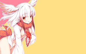 Rating: Questionable Score: 57 Tags: anthropomorphism blush breasts crested_ibis_(kemono_friends) gloves kemono_friends naked_shirt navel nipples orange_eyes short_hair tail tateha white white_hair wings User: RyuZU