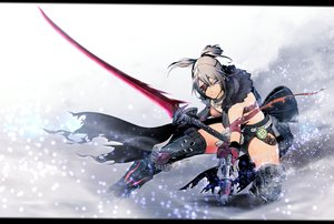 Rating: Safe Score: 72 Tags: armor big.g blonde_hair boots cape elbow_gloves eyepatch gloves monster_hunter monster_hunter:_world necklace ponytail purple_eyes sword thighhighs weapon User: luckyluna