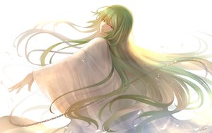 Rating: Safe Score: 55 Tags: all_male chain enkidu fate/grand_order fate_(series) green_hair long_hair male petals signed tenyo0819 white yellow_eyes User: RyuZU