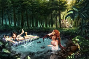 Rating: Safe Score: 161 Tags: animal barefoot bikini breasts brown_hair cleavage food forest frog leaves long_hair motorcycle namamizu000 original short_hair swimsuit tree twintails water wink User: Flandre93