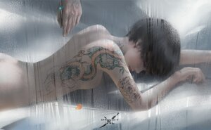 Rating: Questionable Score: 76 Tags: black_hair ghostblade jade_(ghostblade) logo nude short_hair tattoo wlop User: BattlequeenYume