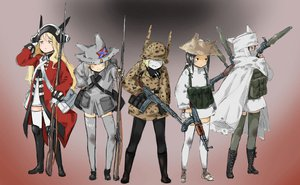 Rating: Safe Score: 59 Tags: animal_ears coh group gun hat pantyhose thighhighs uniform weapon zettai_ryouiki User: PAIIS