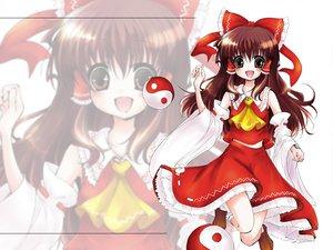 Rating: Safe Score: 13 Tags: brown_hair hakurei_reimu japanese_clothes long_hair miko red_eyes ribbons touhou User: Oyashiro-sama