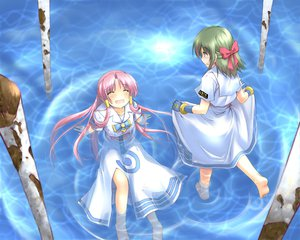 Rating: Safe Score: 18 Tags: ai_(aria) aria blue green_hair mizunashi_akari pink_hair ribbons water User: HawthorneKitty