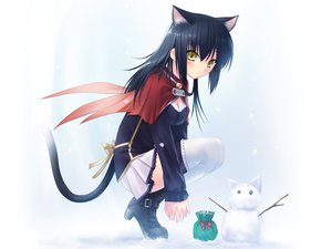 Rating: Safe Score: 20 Tags: animal_ears bell black_hair blush boots bow breasts catgirl cleavage snow snowman tail thighhighs yellow_eyes User: Oyashiro-sama
