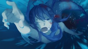 Rating: Questionable Score: 25 Tags: animal blood brown_eyes brown_hair bubbles fish flat_chest mermaid nipples original scarf short_hair spencer_sais underwater water wink User: otaku_emmy
