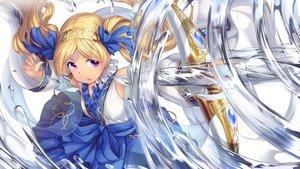 Rating: Safe Score: 77 Tags: blonde_hair bow_(weapon) chain emily_stewart idolmaster idolmaster_million_live! karisuwaya long_hair purple_eyes twintails water weapon User: RyuZU