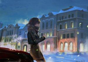 Rating: Safe Score: 41 Tags: brown_hair building car city dress miso_katsu night original phone scarf short_hair signed snow winter User: RyuZU