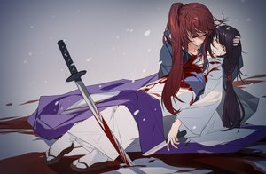 Rating: Safe Score: 34 Tags: black_hair blood gradient grandialee himura_kenshin japanese_clothes katana kimono knife long_hair male ponytail red_hair rurouni_kenshin sword tears weapon yukishiro_tomoe User: RyuZU