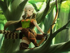 Rating: Safe Score: 101 Tags: boots bow_(weapon) braids brown_eyes cape dragon's_crown elf_(dragon's_crown) forest gloves gray_hair hoodie short_hair shorts thighhighs toamariitutu tree twintails weapon zettai_ryouiki User: otaku_emmy