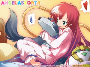 Rating: Safe Score: 32 Tags: animal aoi_umi_no_tristia bed dog green_eyes hug long_hair nanoca_flanka pajamas red_hair signed stuka watermark yamamoto_keiji User: 秀悟
