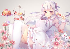 Rating: Safe Score: 86 Tags: apron bell cake dress flowers food fruit headdress horns long_hair maid original purple_eyes strawberry thighhighs tsuruse twintails white_hair User: BattlequeenYume