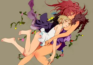 Rating: Questionable Score: 84 Tags: 2girls barefoot blonde_hair breasts dress mebae_(artist) original red_eyes red_hair short_hair yellow_eyes User: FormX