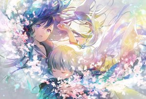 Rating: Safe Score: 81 Tags: 2girls 888myrrh888 flowers hug japanese_clothes kimono long_hair original petals school_uniform User: BattlequeenYume