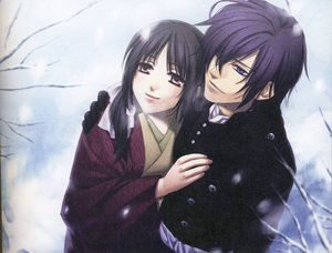 Rating: Safe Score: 26 Tags: brown_eyes brown_hair hakuouki_shinsengumi_kitan purple_eyes purple_hair saitou_hajime scan yukimura_chizuru User: SennoMakoto