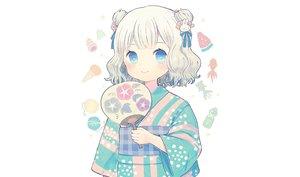 Rating: Safe Score: 31 Tags: aqua_eyes ayu_(mog) blush brown_hair fan japanese_clothes loli original short_hair third-party_edit white yukata User: otaku_emmy