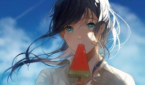 Rating: Safe Score: 71 Tags: aqua_eyes black_hair close clouds long_hair mikuro_(396) original popsicle shirt sky User: RyuZU