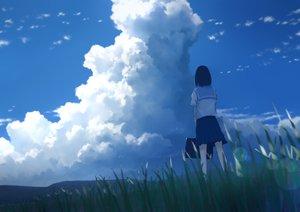 Rating: Safe Score: 62 Tags: aliasing black_hair clouds grass original seifuku short_hair skirt sky tagme_(artist) User: otaku_emmy