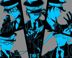 Rating: Safe Score: 36 Tags: all_male ao_no_exorcist fang group gun male miwa_konekomaru okumura_rin okumura_yukio shima_renzou suguro_ryuji weapon User: Katsumi