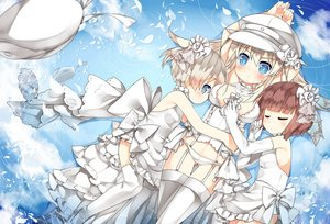 Rating: Safe Score: 90 Tags: anthropomorphism bismarck_(kancolle) blonde_hair blue_eyes bow breasts brown_hair elbow_gloves garter_belt gloves kantai_collection loli long_hair panties petals saru short_hair thighhighs underwear water wedding_attire white_hair z1_leberecht_maass_(kancolle) z3_max_schultz_(kancolle) User: Flandre93