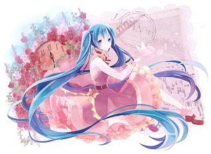 Rating: Safe Score: 89 Tags: blue_eyes blue_hair choker dress flowers hatsune_miku long_hair t_miyanagi twintails vocaloid User: FormX