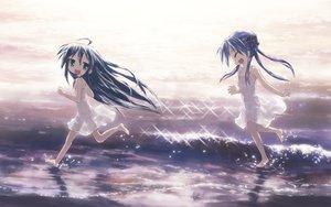 Rating: Safe Score: 91 Tags: blue_hair dress green_eyes hiiragi_kagami izumi_konata long_hair lucky_star water User: HawthorneKitty