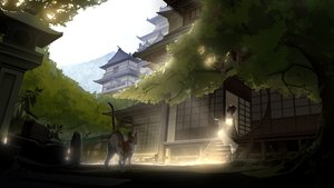 Rating: Safe Score: 98 Tags: animal animal_ears black_hair building cat catgirl futoshi_ame headdress japanese_clothes kimono original shade stairs tree User: BattlequeenYume