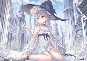 Rating: Safe Score: 175 Tags: bandage blush bondage bow building butterfly chain clouds collar dress flowers gray_hair hat long_hair original purple_eyes shackles sky summer_dress touhourh witch_hat User: BattlequeenYume