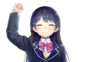 Rating: Safe Score: 42 Tags: black_hair blue_eyes bow close kath long_hair nijisanji parody school_uniform tsukino_mito white User: otaku_emmy