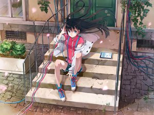 Rating: Safe Score: 121 Tags: black_hair blue_eyes eihi headphones long_hair original shorts stairs tagme User: opai