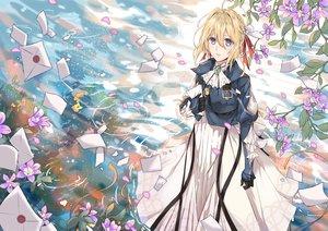 Rating: Safe Score: 22 Tags: blonde_hair blue_eyes dress flowers paper petals tagme_(artist) violet_evergarden violet_evergarden_(character) water User: RyuZU