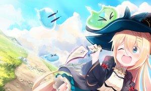 Rating: Safe Score: 29 Tags: aizawa_azusa blonde_hair blue_eyes blush clouds dress grass hat knife long_hair ribbons slime_taoshite_300_nen_shiranai_uchi_ni_level_max_ni_nattemashita weapon witch witch_hat User: HatsuneNoPantsu