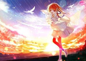 Rating: Safe Score: 19 Tags: animal bird bow chano_hinano clouds orange_eyes orange_hair original pantyhose polychromatic sky sunset water User: Dreista