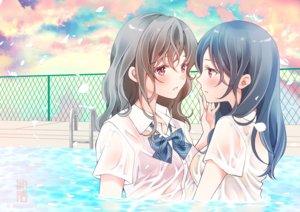Rating: Questionable Score: 9 Tags: 2girls bow bra original petals pool see_through seifuku sheepd shoujo_ai underwear water watermark wet User: RyuZU