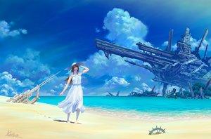 Rating: Safe Score: 24 Tags: beach clouds dress hat kaitan original ruins scenic signed sky summer_dress water User: FormX