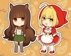 Rating: Safe Score: 18 Tags: 2girls animal_ears apron blonde_hair brown_eyes chibi cosplay dress fate/extra fate_(series) green_eyes hoodie karokuchitose kishinami_hakuno little_red_riding_hood lolita_fashion pantyhose saber saber_extra shirt short_hair skirt tail thighhighs waifu2x wolfgirl User: otaku_emmy