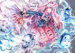 Rating: Safe Score: 101 Tags: afraco bow fan hata_no_kokoro mask pink_eyes pink_hair touhou waifu2x User: Zolxys