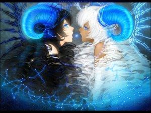 Rating: Safe Score: 174 Tags: 2girls aqua_eyes black_hair dark_skin horns long_hair original sheepgirl white_hair yuuno_(yukioka) User: Flandre93