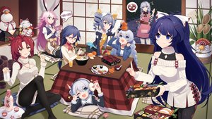 Rating: Safe Score: 34 Tags: animal_ears aqua_eyes bell blue_eyes blue_hair blush bow bronya_zaychik dress drink earmuffs fan food fruit fu_hua game_console glasses gray_eyes gray_hair honkai_impact kallen_kaslana kiana_kaslana long_hair murata_himeko necklace orange_(fruit) pantyhose phone pink_hair raiden_mei red_hair sake sharlorc short_hair skirt theresa_apocalypse thighhighs twintails wink yae_sakura_(benghuai_xueyuan) yellow_eyes User: RyuZU
