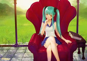 Rating: Safe Score: 64 Tags: aqua_hair ariverkao book brown_eyes grass long_hair original skirt twintails User: opai