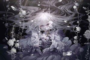 Rating: Safe Score: 47 Tags: blue_eyes bones dress flowers long_hair open_shirt original petals polychromatic underwater water white_hair yoggi_(stretchmen) User: Dreista